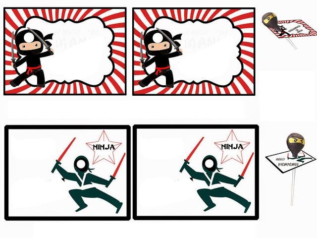 Ninja: Imprimibles Gratis para Chupa Chups.