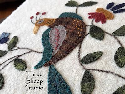 Folksy Bird and Bloom Wool Applique by Rose Clay at ThreeSheepStuido.com - Studio