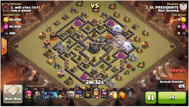 Cara Meratakan Town Hall 9 Max Defense Pada Clan War Clash of Clans