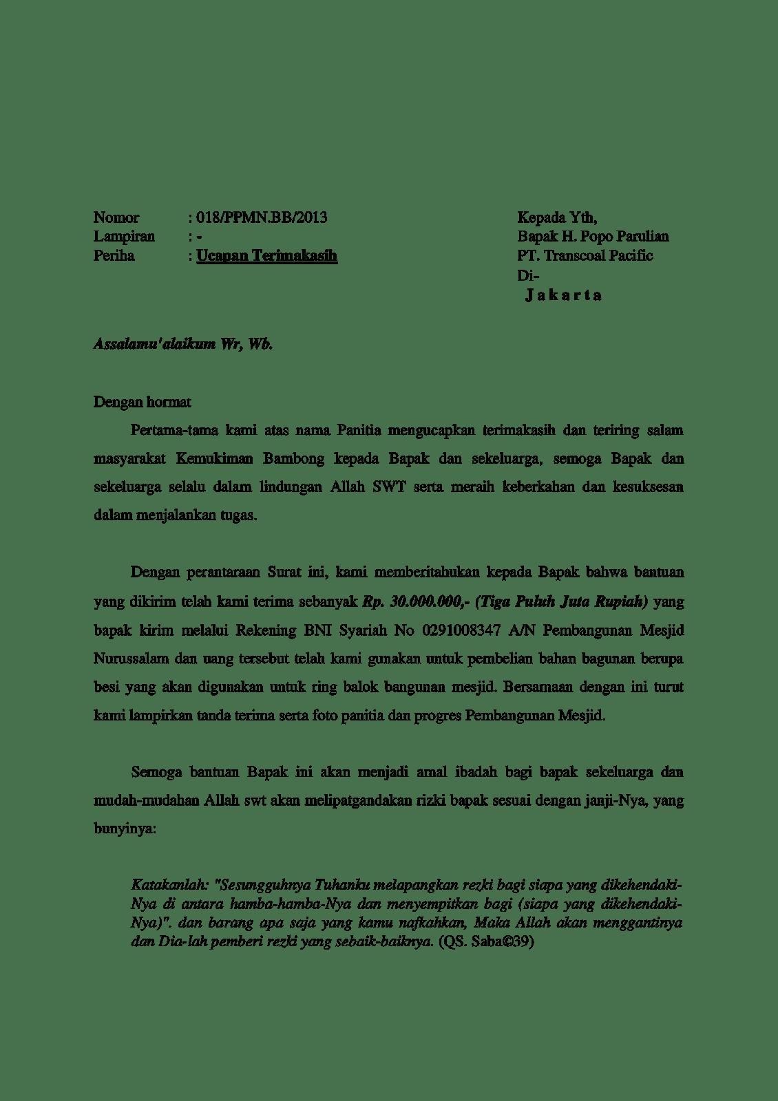 contoh surat ucapan terima kasihatas bantuan dana