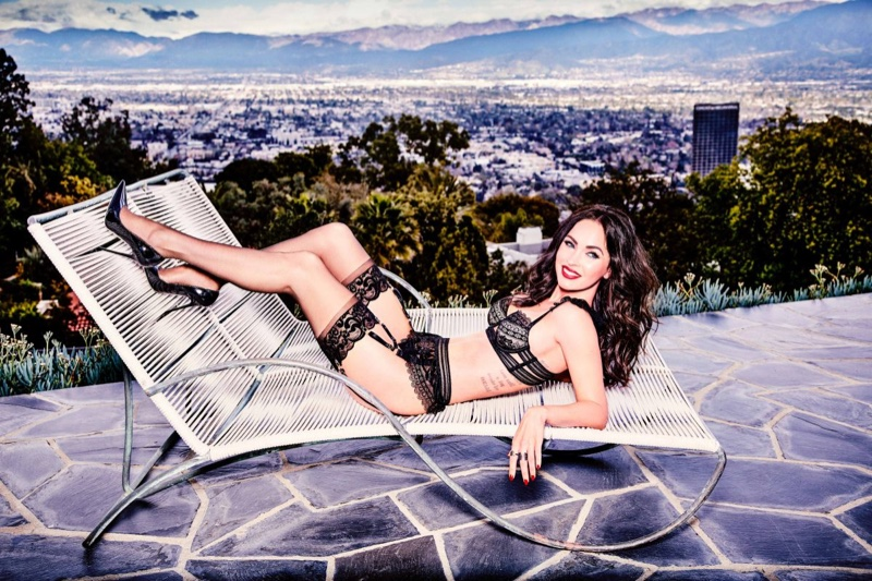 Megan Fox models black lingerie by Frederick's of Hollywood