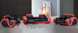 TOSH Furniture Modern Black and Red Sofa Set