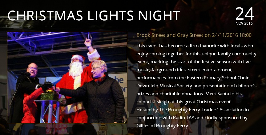 Christmas Light Night in Broughty Ferry Thursday 24 November 2016