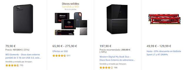 10 productos de Crucial, SanDisk y Wester Digital rebajados en Amazon