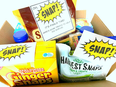 College care package for finals with SNAP related foods.  Find printables @michellepaigeblogs.com