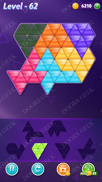 Block! Triangle Puzzle Intermediate Level 62 Solution, Cheats, Walkthrough for Android, iPhone, iPad and iPod