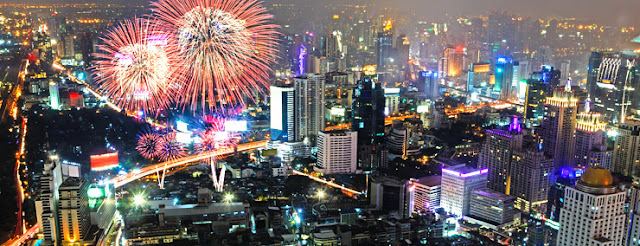 Bangkok city new year 2018 scenes