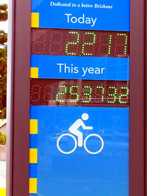 bicycle counter on Brisbane's Bicentennial Bikeway in March 2018
