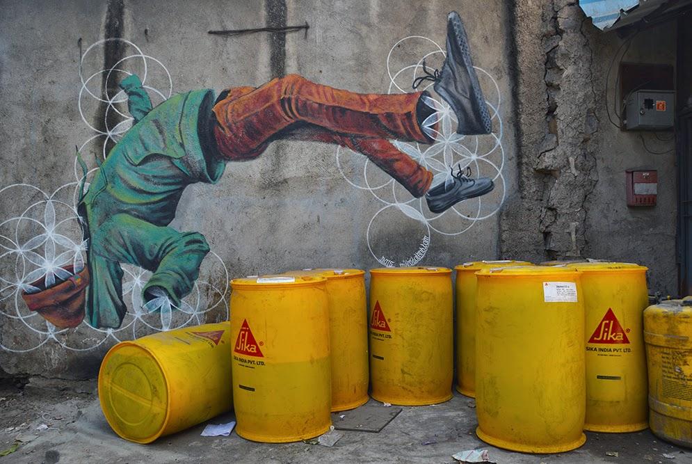 Pune Street Art Project Mural Kasba Peth Harmonics Geometrics Miles Toland