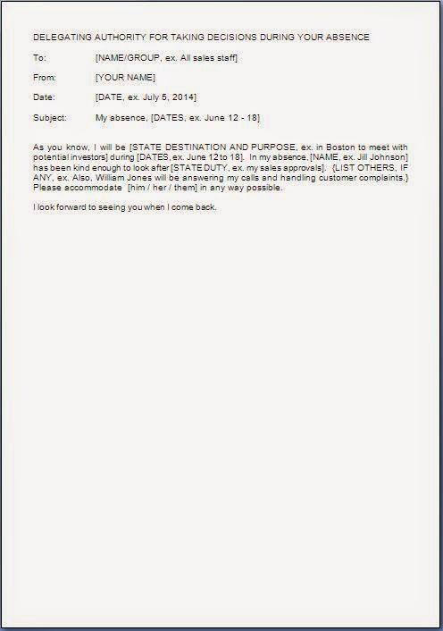 authority delegation letter sample