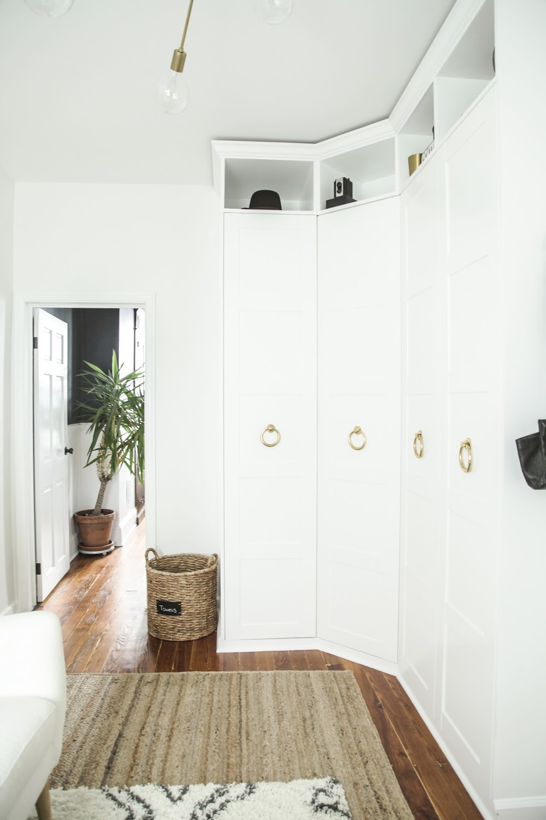 modern dressing room with built-in wardrobe