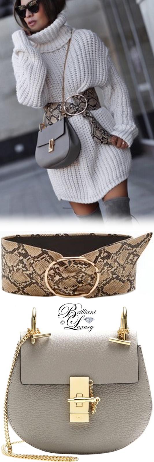 Brilliant Luxury ♦  Mango snake bucket belt and Chloé Drew bag #grey #streetstyle