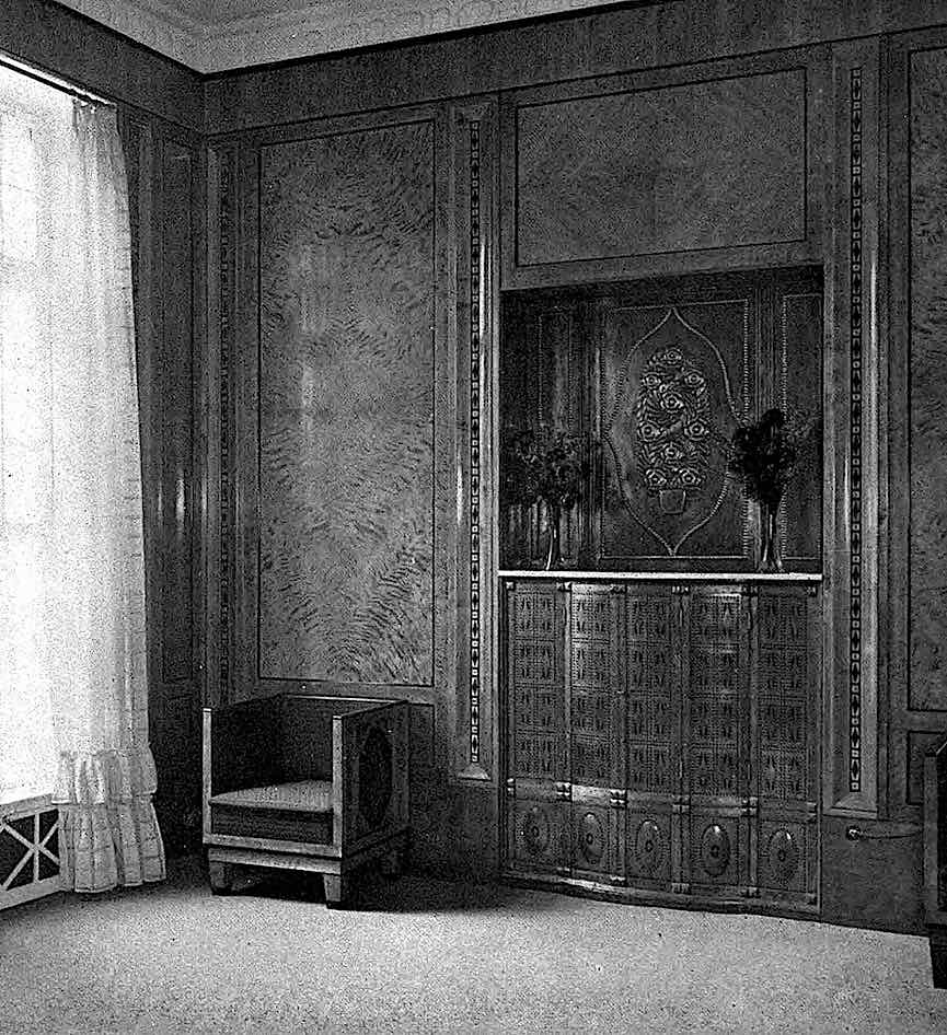 a Bruno Paul interior design, 1909 hardwood panelling, corner, a photograph