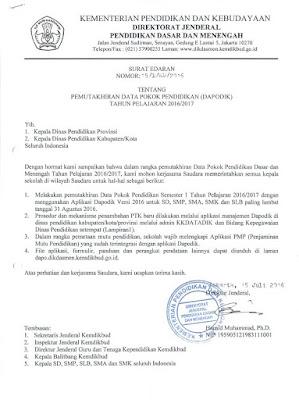 surat dirjen Dikdasmen tentang aplikasi SIM PMP 2016