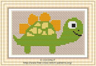 Dinosaur 2, Free and easy printable cross stitch pattern