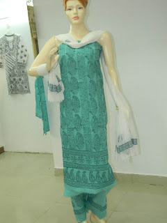 Lucknowi Chikan Green Cotton Dress Material