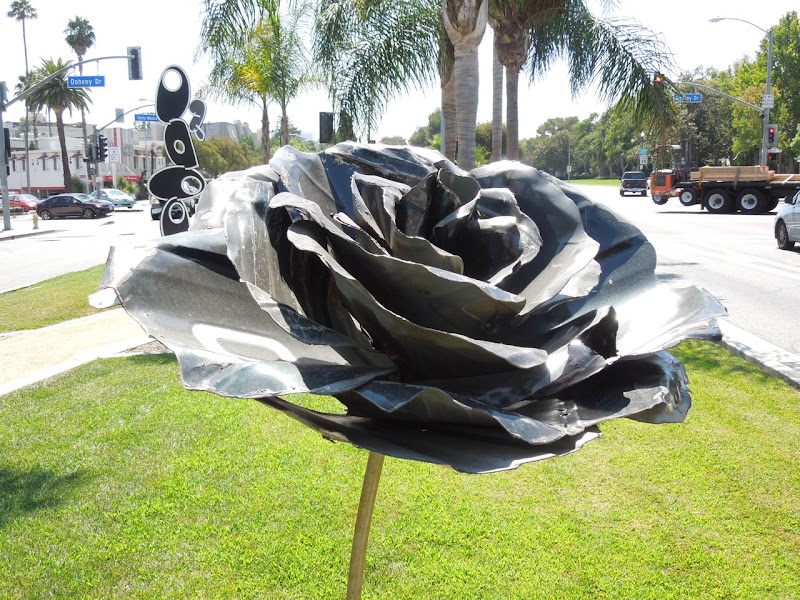 Standing Rose sculpture Michael Kalish WEHO