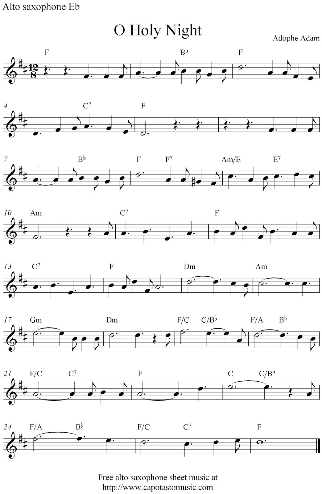 O Holy Night Free Christmas Alto Saxophone Sheet Music Notes