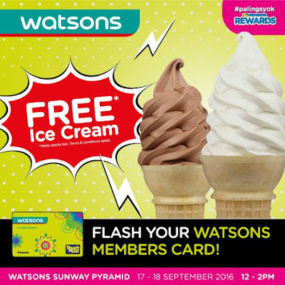 Watsons Sunway Pyramid Free Ice Cream Member Rewards Promo