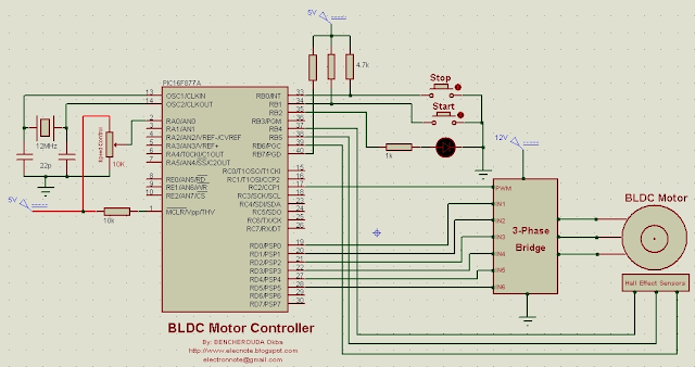 bldc brushless dc motor controller driver circuit pic16f877a mikroc code microcontroller