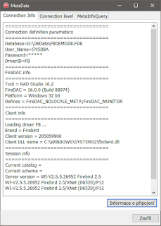 Výpis vlastností DB připojení
