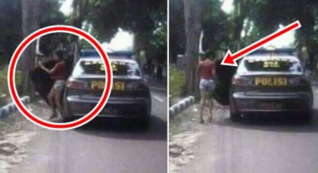 WOW..!!! Foto Sebuah Mobil Polisi Turunkan Gadis Seksi Di Jalan Hebohkan Netizen