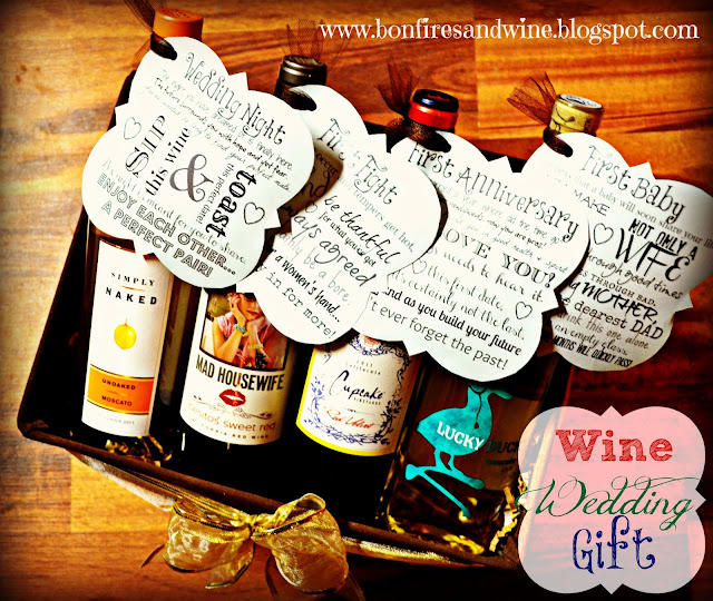photograph about Printable Wine Tags for Bridal Shower Gift titled Wine Basket Marriage Present - Obamaletter