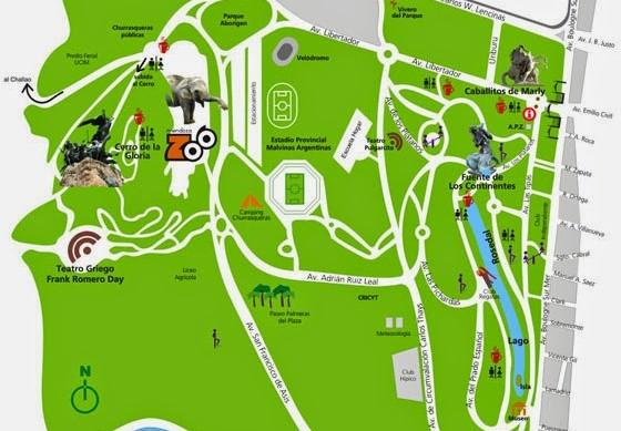 Mapa turístico do centro de Mendoza