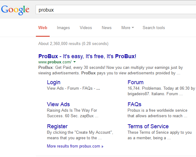Example Of Site Links In Google Search Results