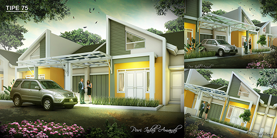 Desain rumah minimalis type 75 3 kamar tidur 1 lantai