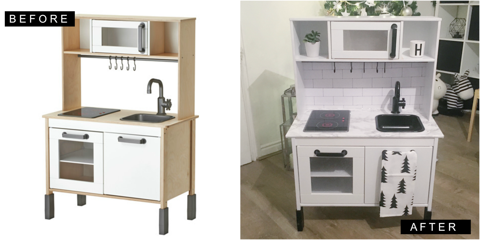 ikea hack duktig play kitchen monochrome makeover oh so amelia. Black Bedroom Furniture Sets. Home Design Ideas