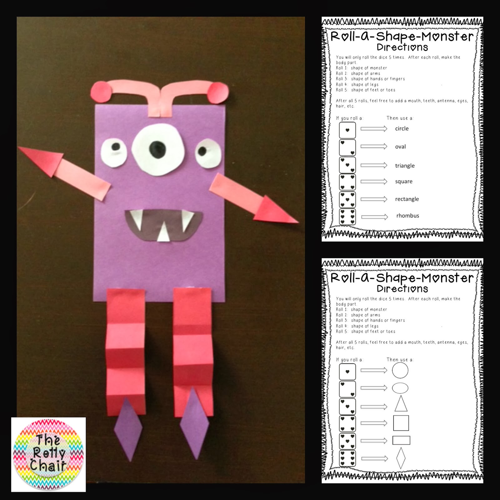 The Rolly Chair Roll A Shape Monster Freebie