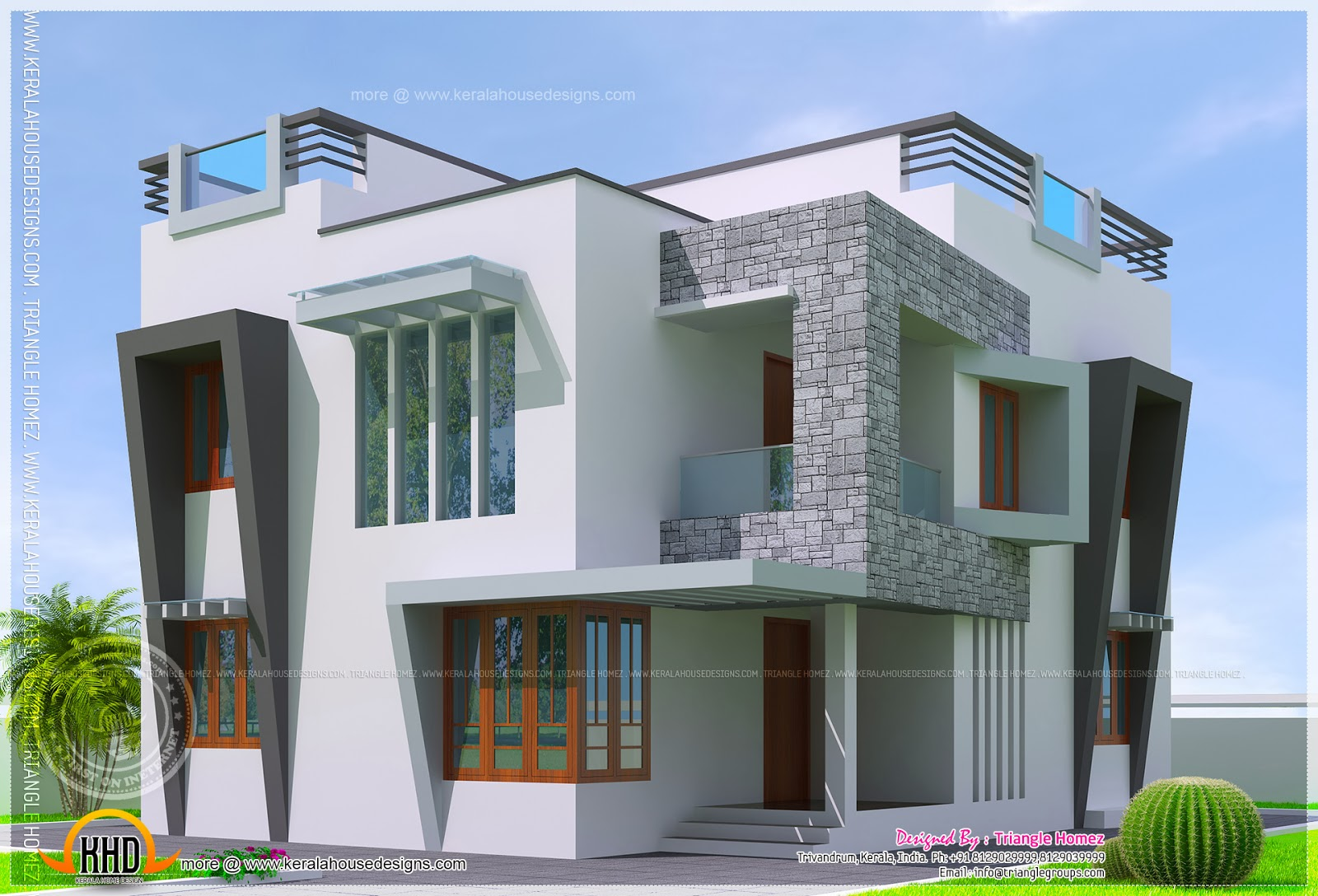 Cute double storied contemporary house kerala home for Home designs double floor