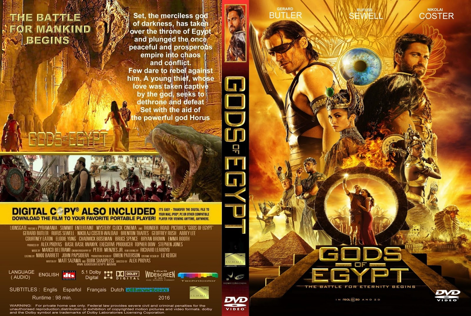 Gods Of Egypt 2016 720p + 1080p Bluray DTS X264-DRONES ~ Film HD