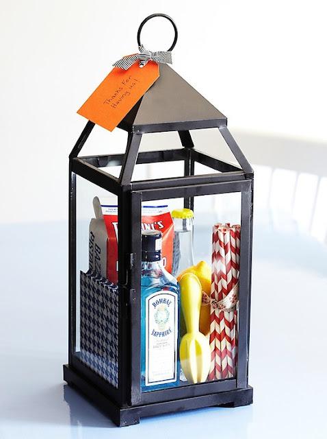 Hostess Gifts Home Decor Lantern Bombay Gin Fun Paper Straws Lemon Muddler Cocktail Napkins Thank You