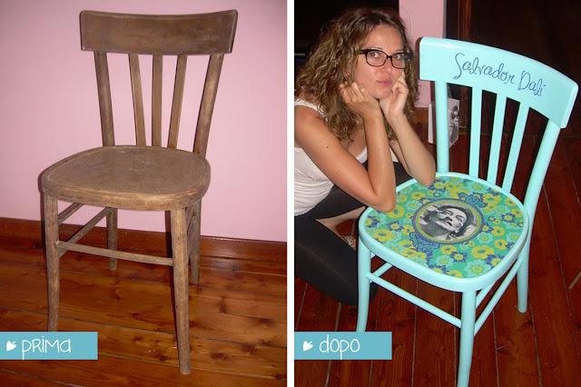 Lorendesign sedia creativa decorata a mano dal for Decorare sedia legno