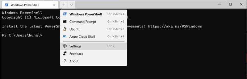 Open the Windows Terminal settings