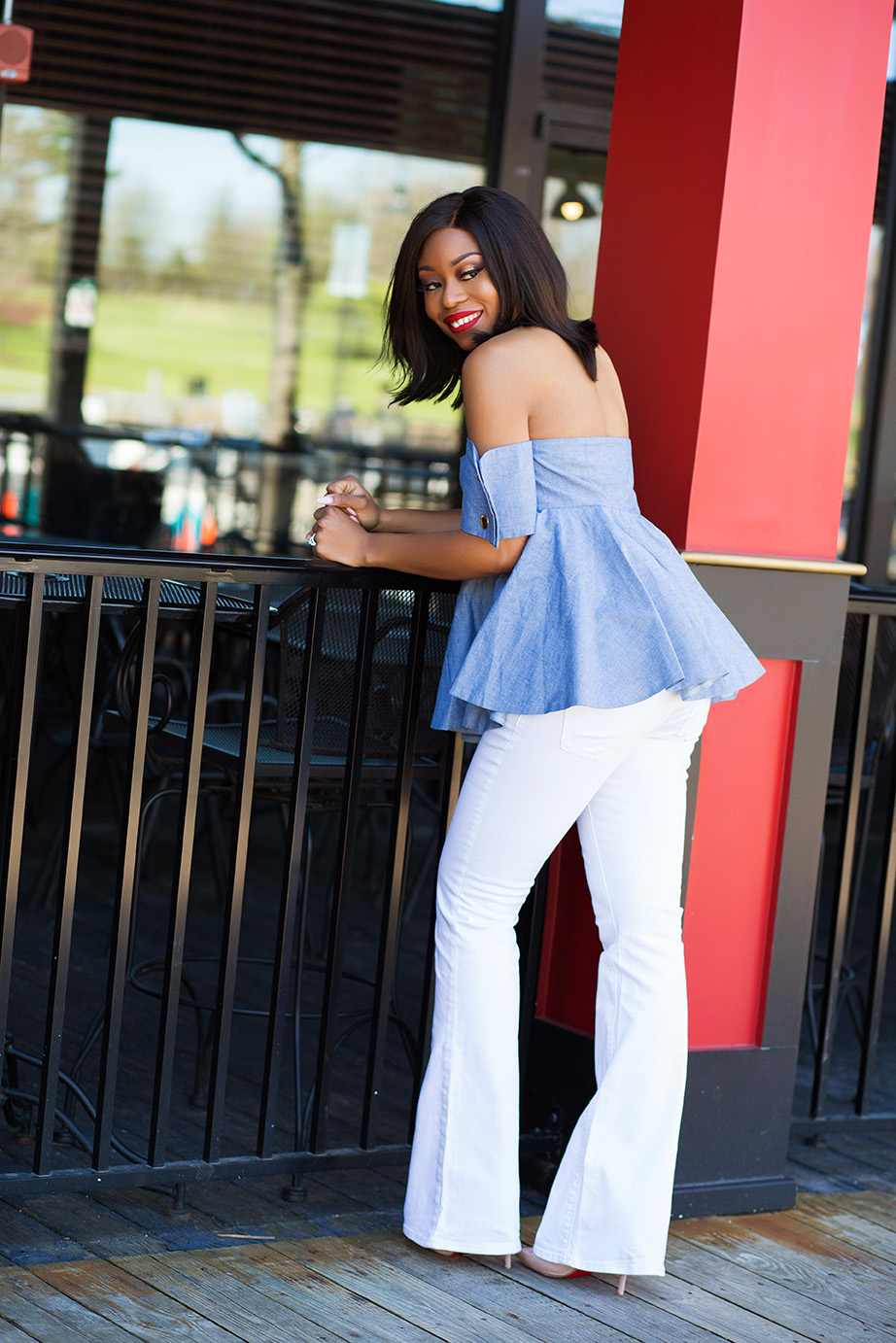 Independence day style inspiration, off shoulder top, white jeans, www.jadore-fashion.com