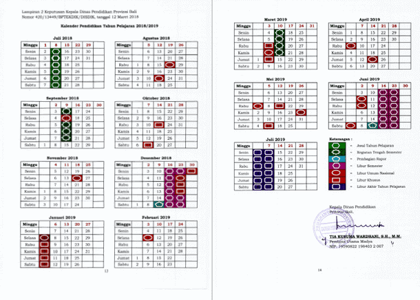 Kalender Pendidikan Provinsi Bali Tahun Pelajaran 2018-2019