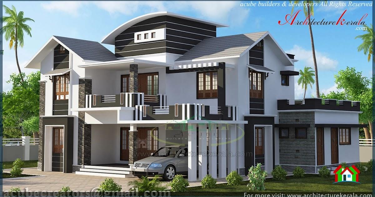 Modern Slope Roof Elevation Architecture Kerala