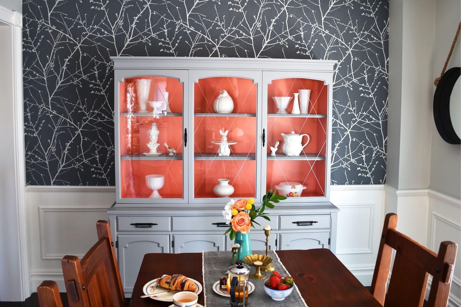 woman in real life the art of the everyday one room challenge we have been loving the teal wallpaper in our foyer and the bold orange floral wallpaper in our powder room