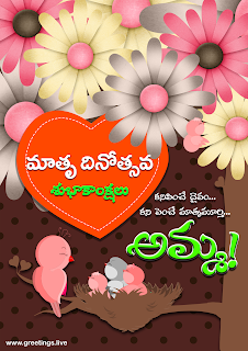 "Mother's day in Telugu ""Matru Dinotsavam Subhakankshalu"".Amma, mother Bird,flowers,baby birds,nest,tree branch"