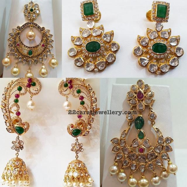 Uncut Diamond Emerald Ear Cuff Jhumkas