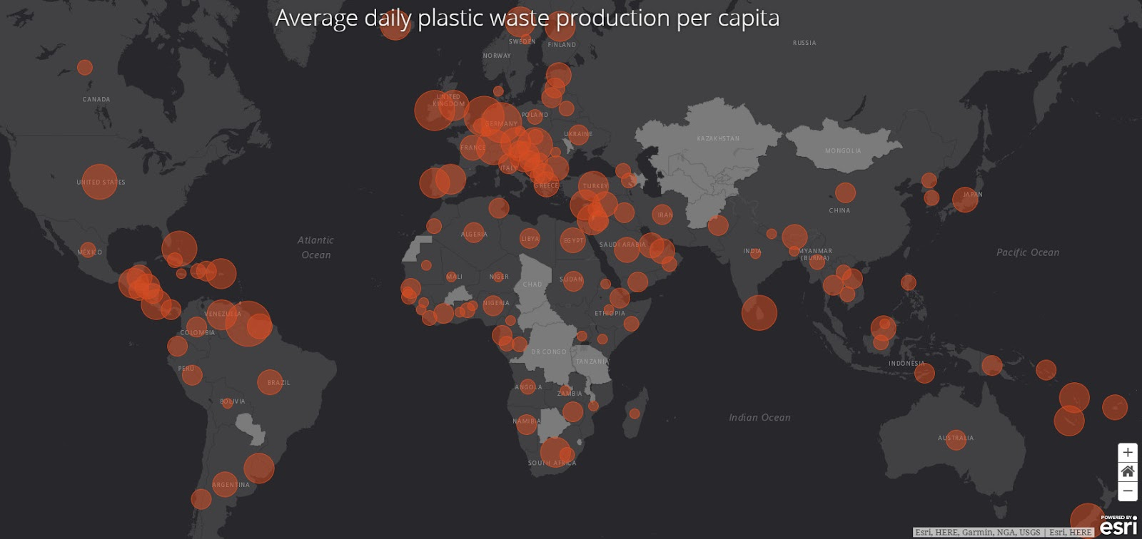 Plastic waste in world