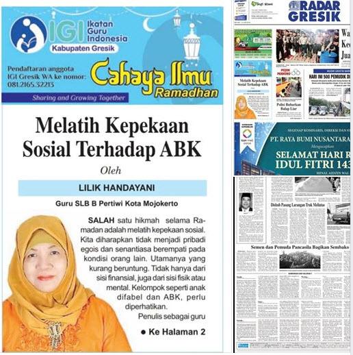 Tulisan Bu Lilik Handayani, Guru SLB B Pertiwi Kota Mojokerto