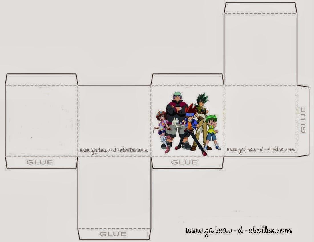 Caja Cubo para Imprimir Gratis de Beyblade.