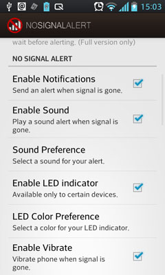 No Signal Alert, Signal Reminder Application for Android