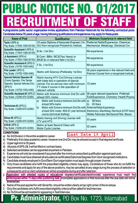 Po Box 1723 Atomic Energy Commission Islamabad Jobs 2017 March Paec