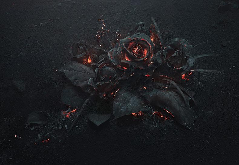 Un ardiente ramo de rosas fotografiado por Ars Thanea
