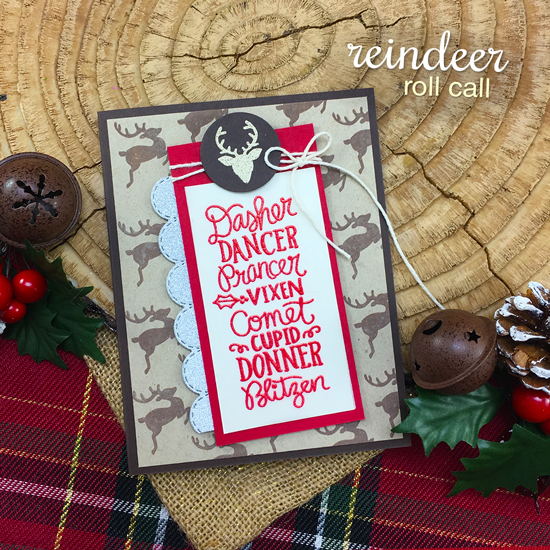 Reindeer Christmas Card by Jennifer Jackson | Reindeer Roll Call Stamp Set by Newton's Nook Designs #newtonsnook #handmade